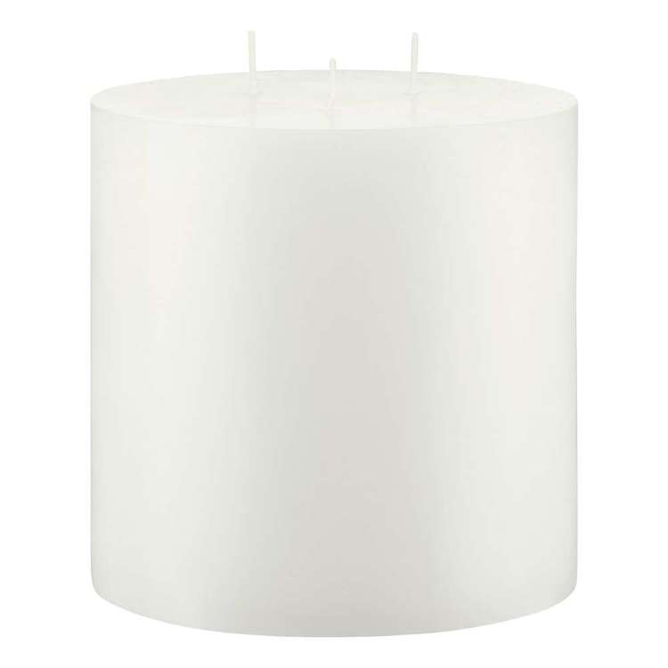 Bouclair Naturalistic Living 3 Wick Pillar Candle White 15 x 15 cm
