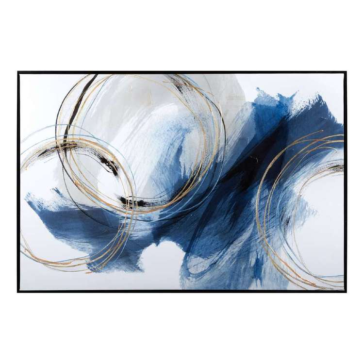 Bouclair Naturalistic Living Framed Embellished Wall Art Blue 91 x 61 cm