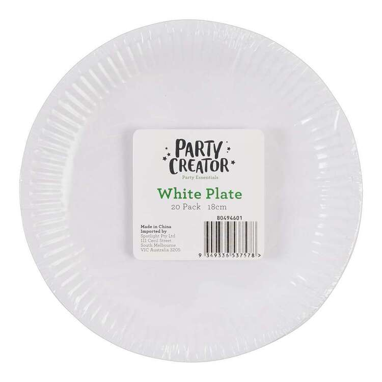 Party Creator 20 Pack White Paper Plates