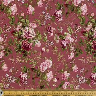 Berry Rose Printed Rayon Fabric