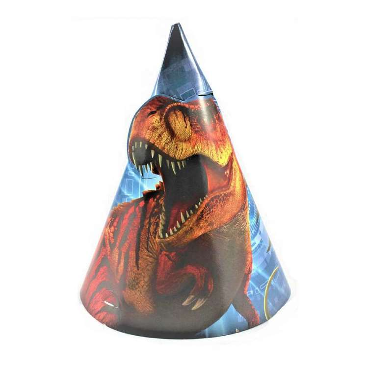 Amscan Jurassic World Paper Cone Hats 8 Pack Multicoloured