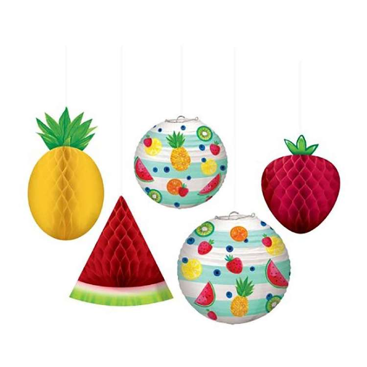 Amscan Hello Summer Fruit Honeycomb Decorations & Paper Lanterns