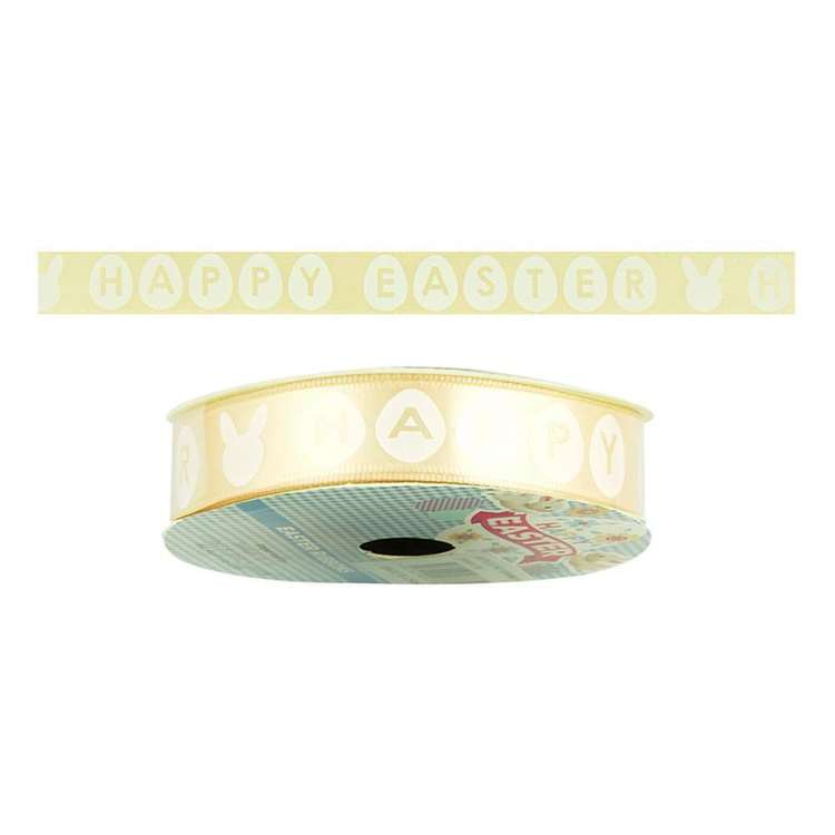 Happy Easter Satin Ribbon Yellow 16 mm