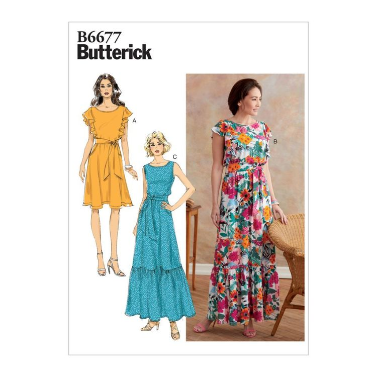 Butterick Pattern B6677 Misses' Dress and Sash