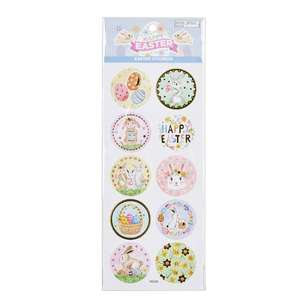 Happy Easter Round Pastel Stickers