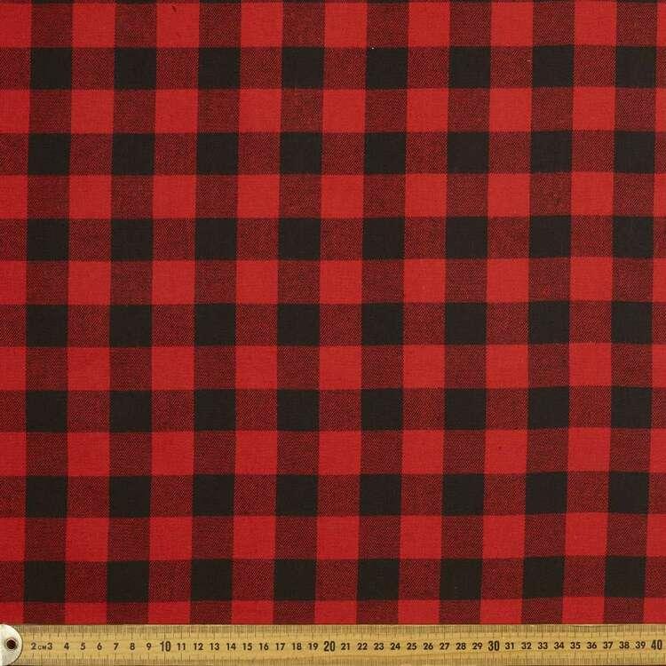 Medium Check Flannelette 148 cm Fabric #3