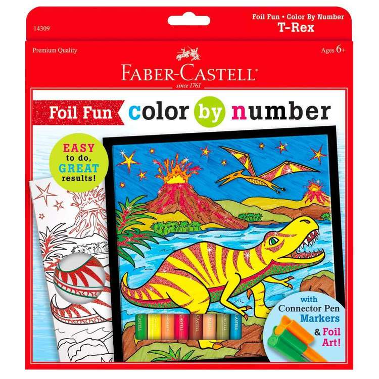 Faber Castell T-Rex Colour By Number Foil Fun