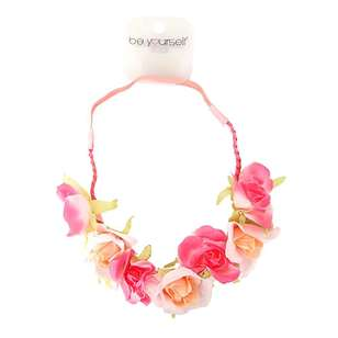 Be Yourself Pink Elastic Floral Head Garland