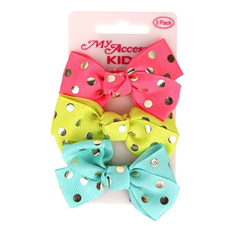 My Accessory Kids Gold Spots Duck Clip Bow 3 Pack