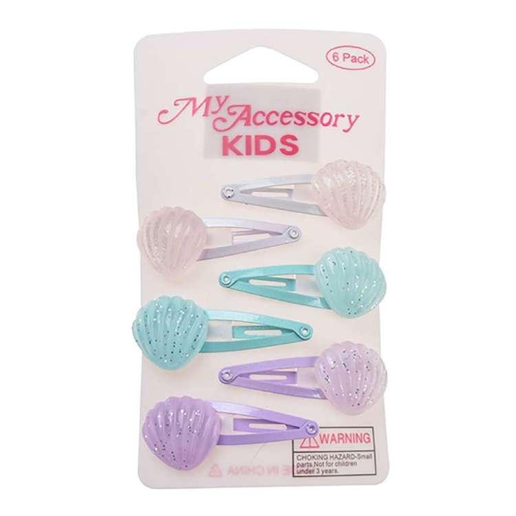 My Accessory Kids Glitter Shell Sleepie Clip 6 Pack