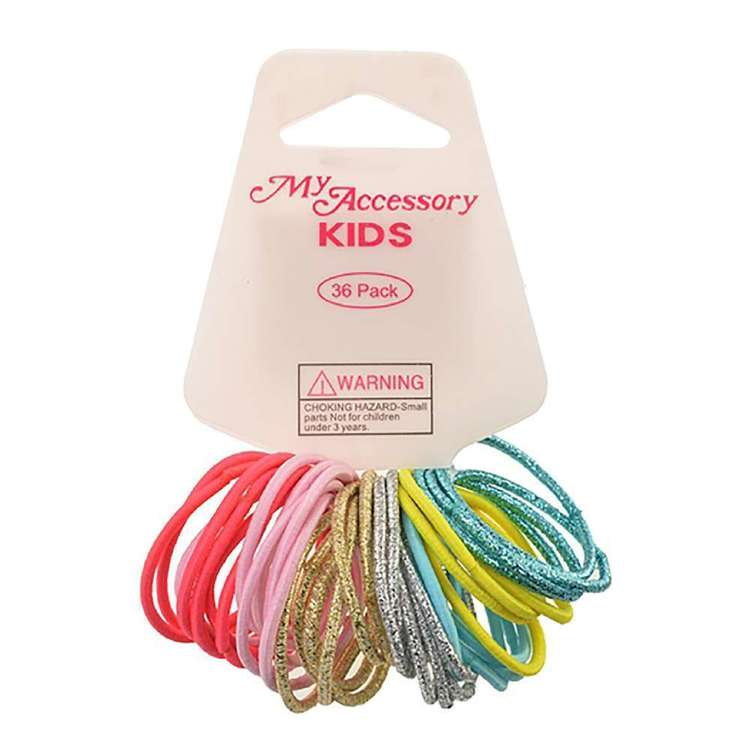 My Accessory Kids Mixed Glitter Hair Rings 36 Pack