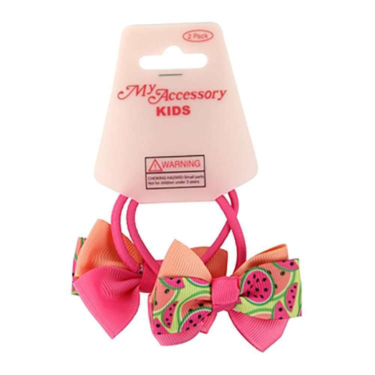 My Accessory Kids Watermelon Bow Hair Rings 2 Pack