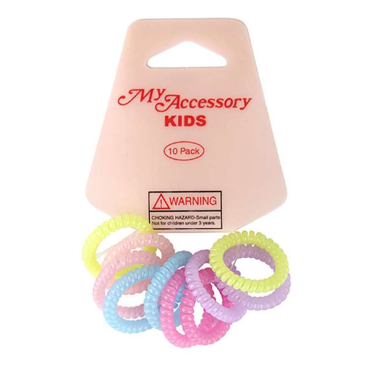 My Accessory Kids Pastel Spiral Hair Rings 10 Pack
