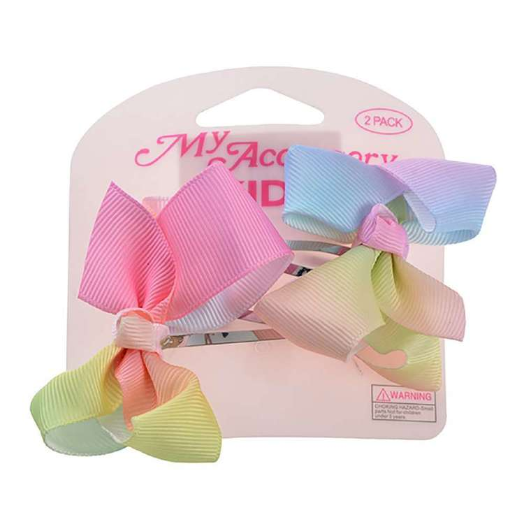 My Accessory Kids Rainbow Bow Sleepie Clip 2 Pack