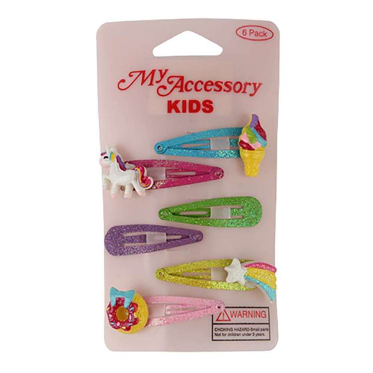 My Accessory Kids Glitter Motif Sleepie Clip 6 Pack