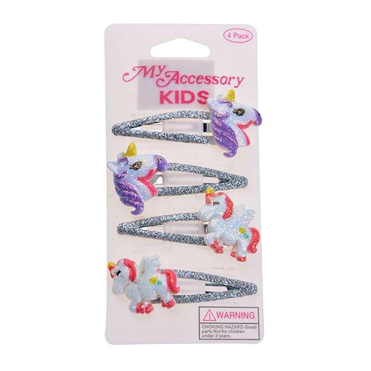 My Accessory Kids Silver Glitter Sleepie Clip 4 Pack