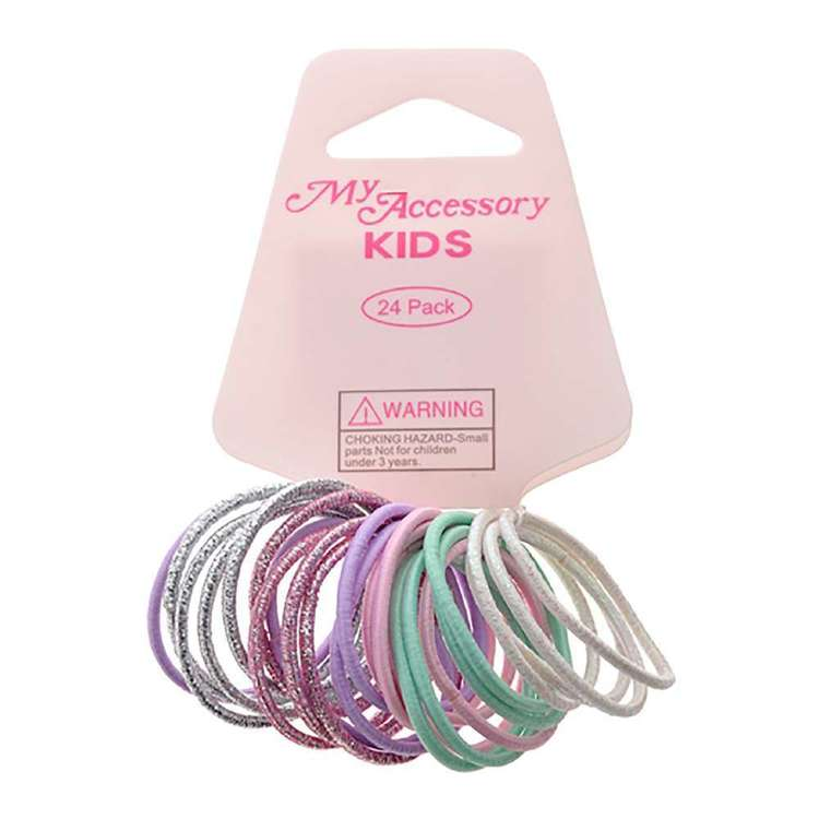 My Accessory Kids Pastel Hair Rings 24 Pack