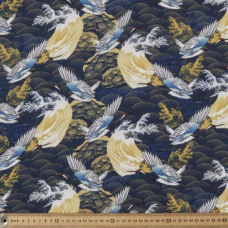 White Crane Printed Castella Rayon Satin Fabric