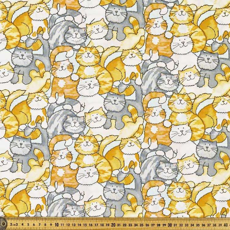 Cat Wallpaper Printed 112 cm Cotton Poplin Fabric