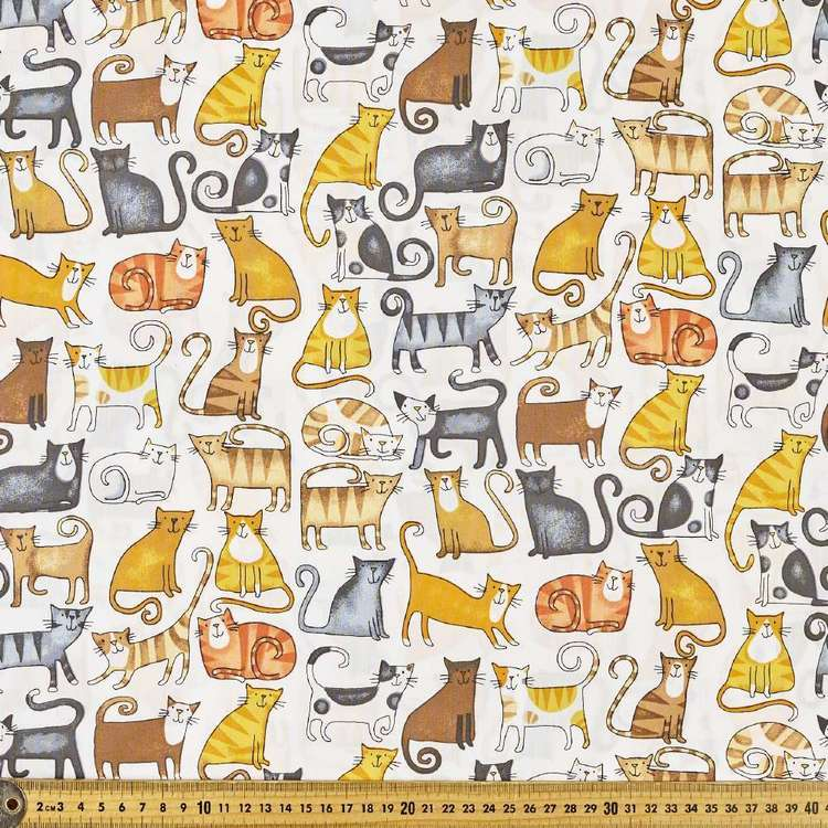 Lotsa Cats Printed 112 cm Cotton Poplin Fabric