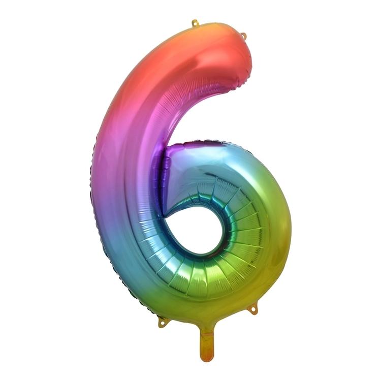Alpen Rainbow Number 6 Foil Balloon