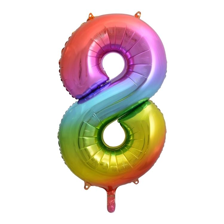 Alpen Rainbow Number 8 Foil Balloon