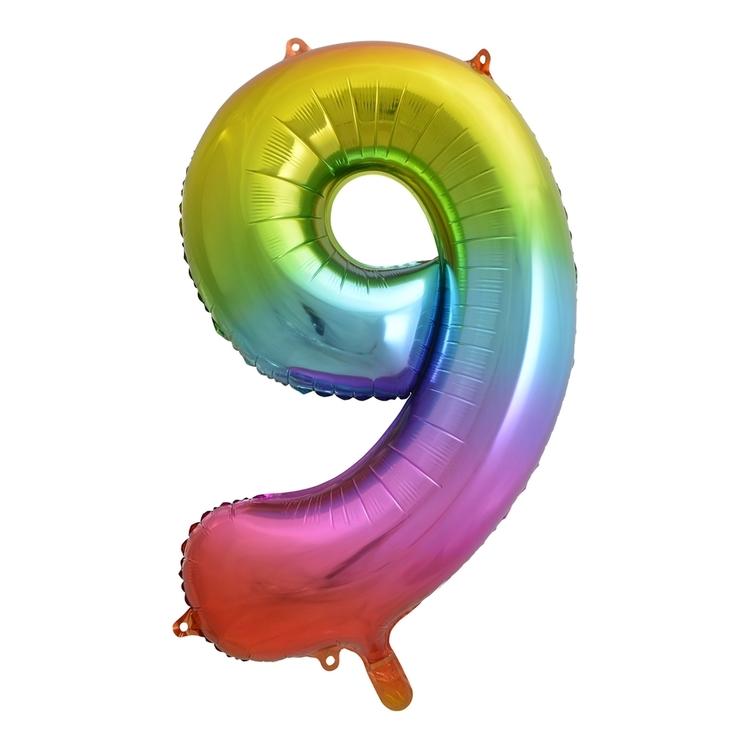 Alpen Rainbow Number 9 Foil Balloon