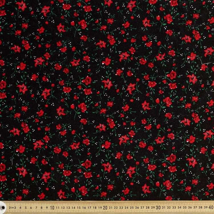 Poppy Printed 112 cm Pinwale Cord Fabric