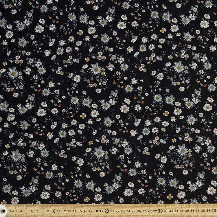 Daisy Printed 112 cm Pinwale Cord Fabric