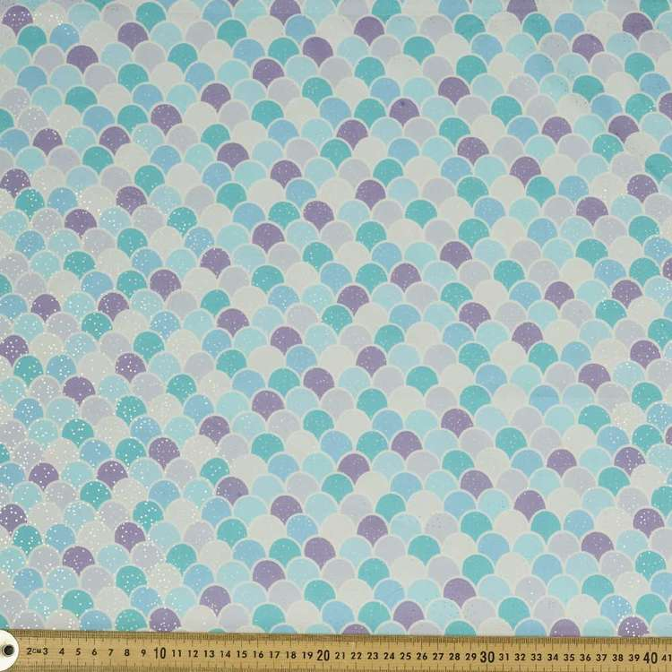 Glitter Scales Printed 112 cm Poplin Fabric