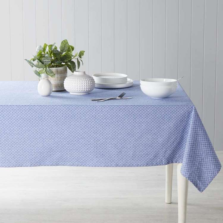 Dine By Ladelle Domain Blue Table Cloth Blue