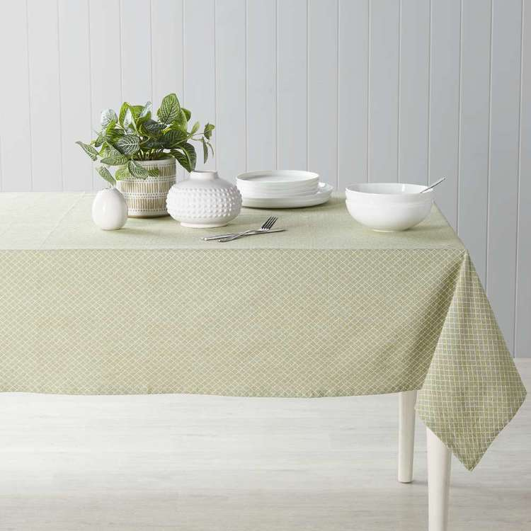 Dine By Ladelle Domain Green Table Cloth Green