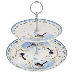 Ashdene Plume Perch Blue Wren 2 Tier Cake Stand