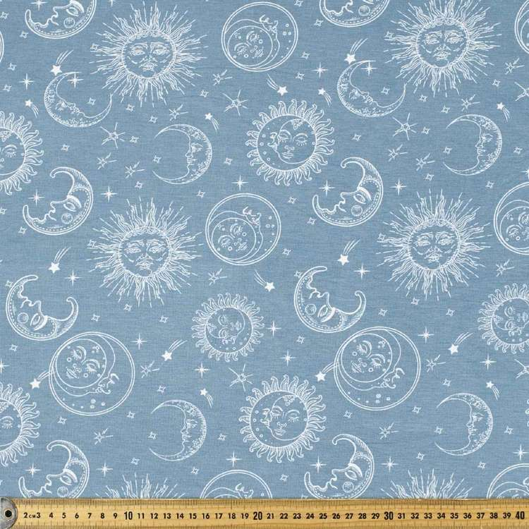 Sun & Moon Printed Rayon Knit Fabric