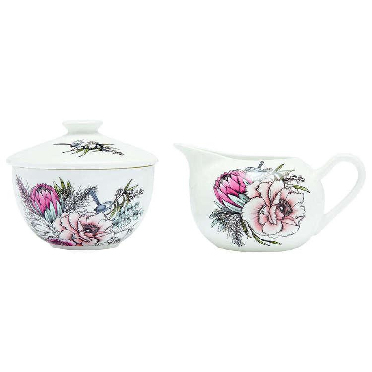 Ashdene Native Bouquet Sugar Bowl & Creamer Set