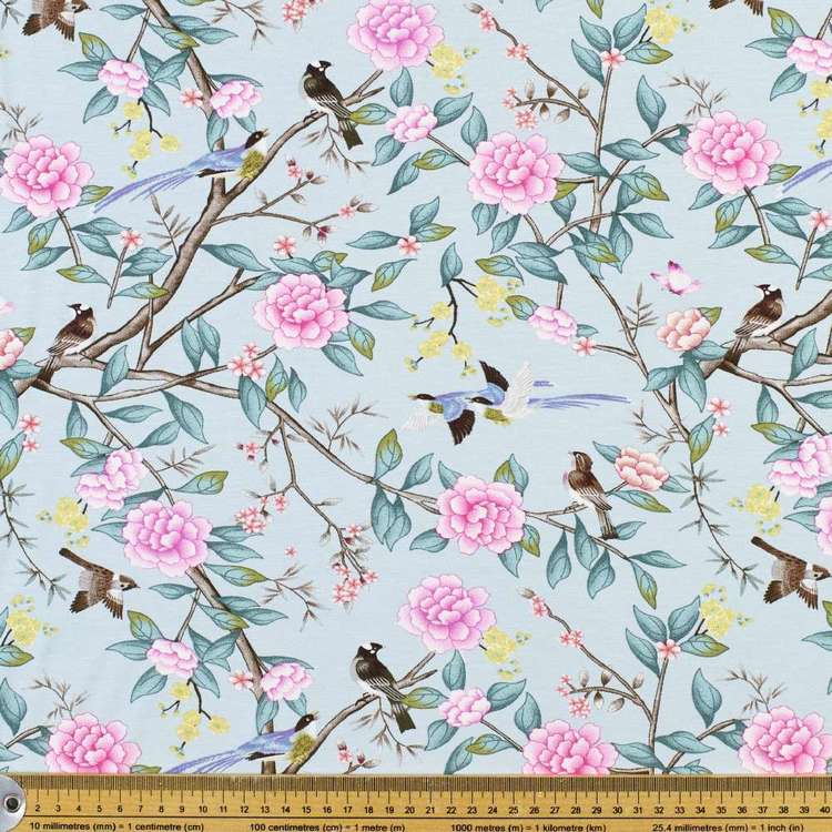 Bird & Blooms Printed Rayon Knit Fabric Duck Egg 148 cm