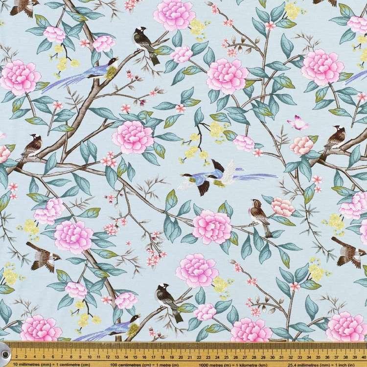 Bird & Blooms Printed Rayon Knit Fabric