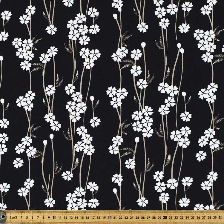 Blooms & Vines Printed Rayon Knit Fabric