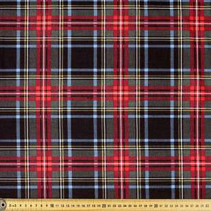 Traditional Check Printed 142 cm Poly Viscose Spandex Fabric