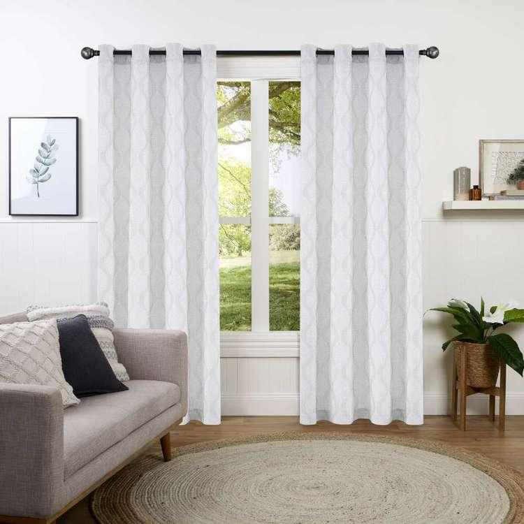 KOO Damask Jacquard Sheer Eyelet Curtains