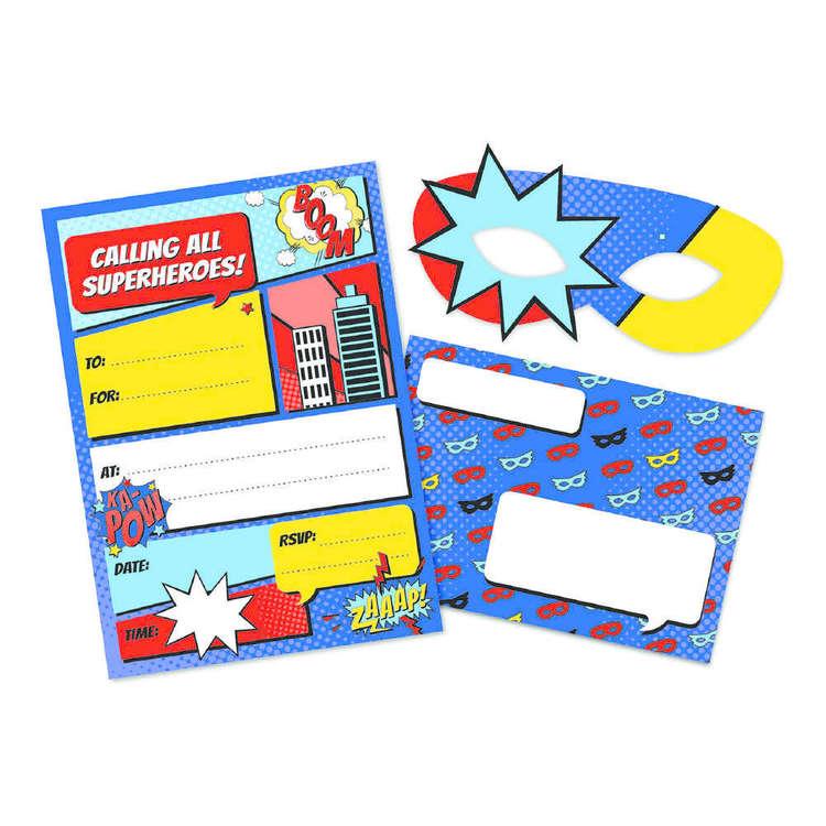 Artwrap Superhero Invite with Mask 8 Pack