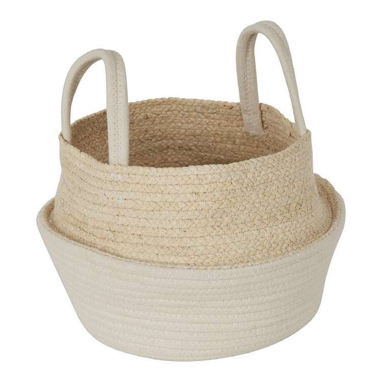 Ombre Home Boho Bloom Basket With Handles Natural 23.5 cm
