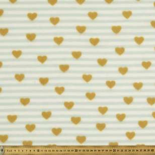 Stripe & Heart Printed Micro Fleece Fabric