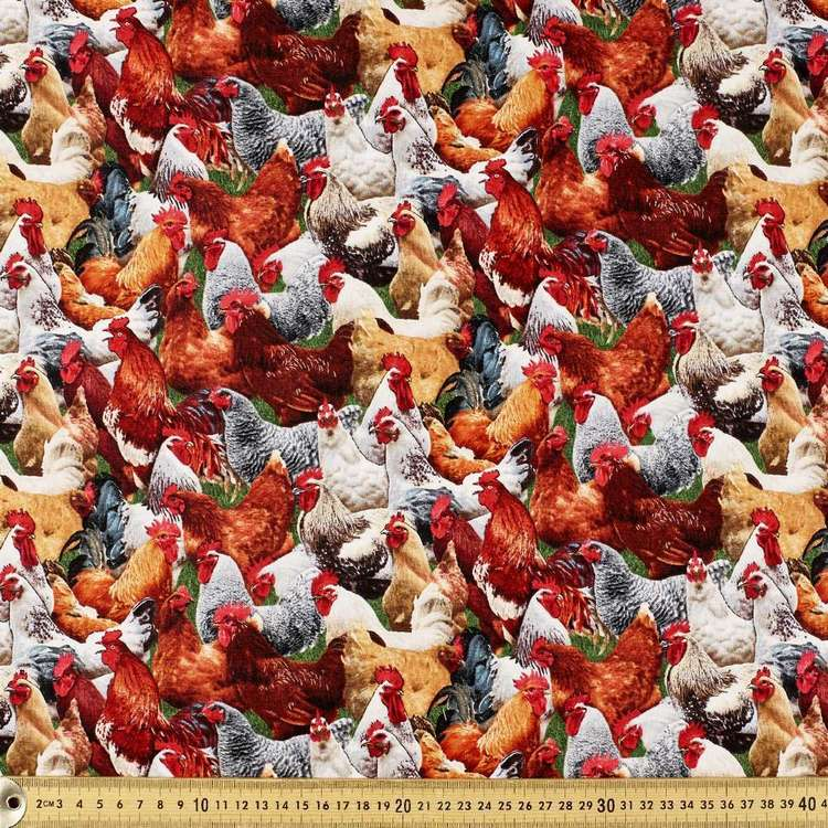Elizabeth's Studio Roosters Cotton Fabric