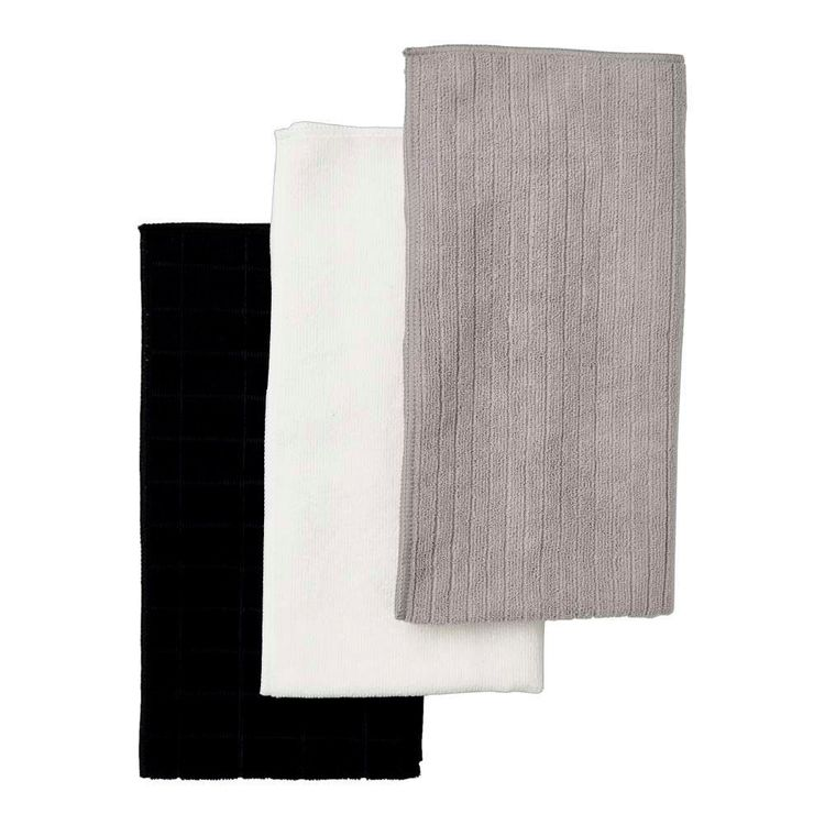 Living Space Calva Micro Fibre 3 Pack Tea Towel