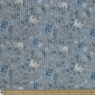 China Blue Digital Printed 148 cm Lurex Lawn Fabric