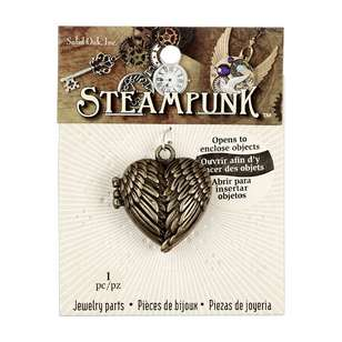 Steampunk Metallic Heart Wings Locket Pendant