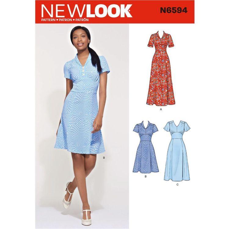 New Look Sewing Pattern N6594 Misses' Dress In Three Lengths