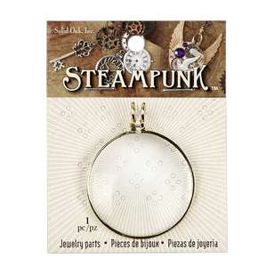Steampunk Metallic Magnifying Glass Pendant