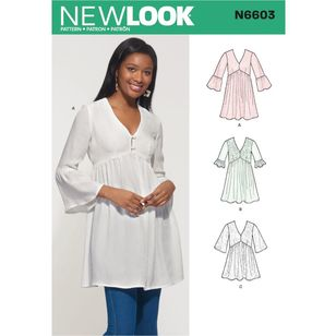 New Look Sewing Pattern N6603 Misses' Mini Dress, Tunic and Top